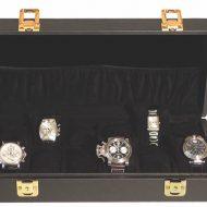 Opbevaringskasse til 12 ure, sort beklædning