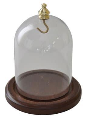 Lommeurs klokke, træsokkel og glas klokke